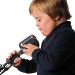 Child on microphone, disability